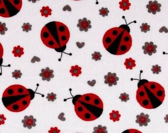 Minky fabric, velvet fabric, ladybug design fabric, fabric coupon