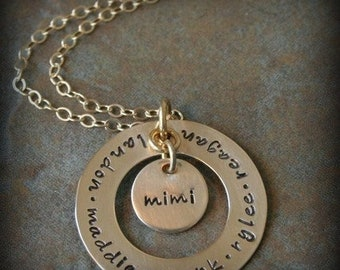 Gold Filled Deluxe Mine for Eternity Hand Stamped Personalized Mommy Name Family Necklace