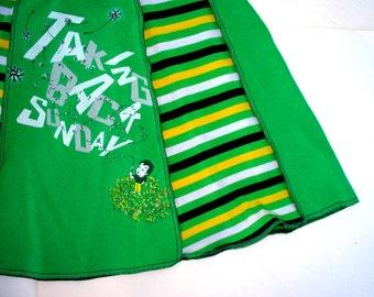 Taking Back Sunday tshirt skirt MakeDamnSure Dandelions women XL Tee Skirt green black white yellow stripes upcycled clothing emo band skirt