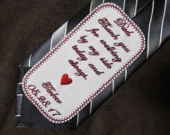 Father of the Bride - Wedding Tie Patch - Personalized Embroidery - Shown with Burgundy Writing and Red Heart