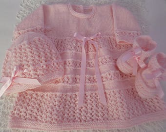 Newborn Girl Set, Newborn Dress, Beanie, Booties, Take Home Set, Coming Home, Knitted Baby Dress, Knitted Baby Set, My First Dress,