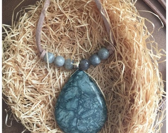 Necklace, handmade necklace, Boho Necklace, suede necklace, statement necklace, Gifts, African Jasper, labradorite beads