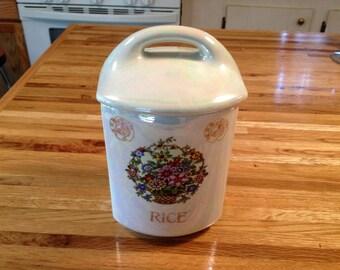 Vintage Lusterware Rice Jar with Lid