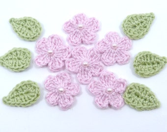 Handmade, sew on patches, Crochet applique, 6 small crochet flowers & crochet leaves, Scrapbooking, crocheted, home decor, nursery decor