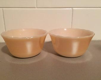 2x Vintage 1950s Anchor Hocking Fire-King Peach Lustre Ware Custard Top Bowls / Anchor Hocking