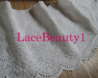 Cotton lace trim embroidery Lace Trim Vintage Lace trim floral lace trim white Lace Trim 17.5cm width 1 yard length