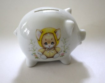 Small Vintage Piggy Bank Kitten Enesco Precious Moments Cute Baby Gift Shower Nursery Child's First Bank