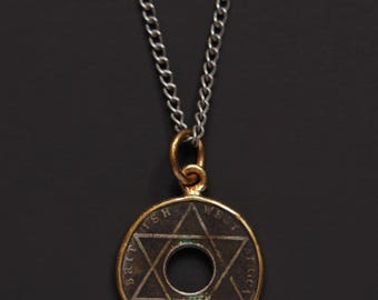 Hexagram Pendant necklace - Size point star necklace - Star of David antique coin pendant necklace - African coin necklace - gifts for men