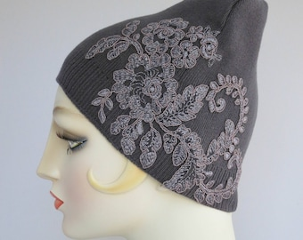 Beanie Skull Cap, Cotton Knit Hat, Gray With Floral Lace Applique