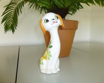 "Precious Big Eyed Dog Figurine, White with Green Flowers, 7"" x 2 1/2"""