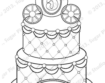 Personalized Printable Birthday Cake Princess Carriage Party Favor childrens kids coloring page book activity PDF or JPEG file