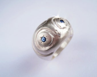 Owl Ring Wisdom and Hope Sterling Silver with sapphires