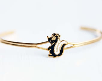 Skunk Bracelet, Animal Bracelet, Funny Bracelet, Enamel Bracelet, Cartoon Bracelet, Small Cuff