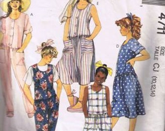 McCall's 4711 Girls' Jumpsuit and Dress Size 10 12 14 - Cut and Complete - Cut on Size 14