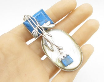 925 silver - vintage opal & turquoise wrapped floral leaves drop pendant - p1058