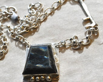 Key stone Labradorite with a key necklace