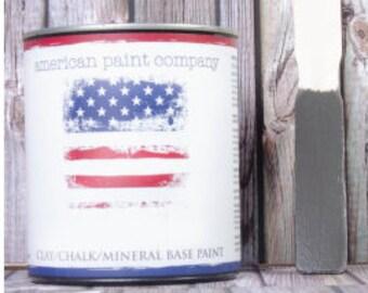 Gun Powder charcoal gray color American Paint Company APC chalk clay paint DIY quart furniture distress shabby chic qt