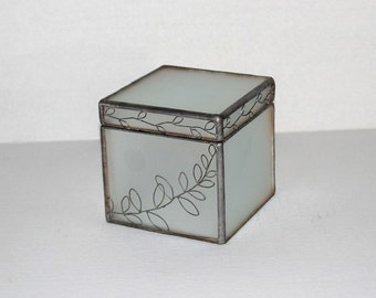 Vintage Leaded Frosted Glass Box with Hinged Lid