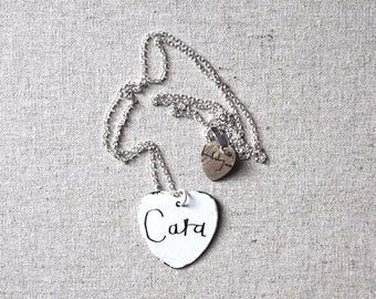 Personlised Enamel Heart Necklace