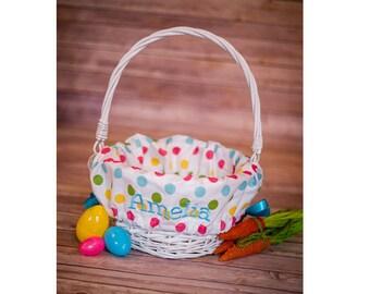 Personalized Easter Basket Liner, Easter Basket Liner, Polka Dot Girl Easter Basket Liner, Personalized Basket Liner For Girl