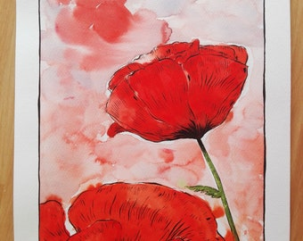 Poppies picture ORIGINAL Watercolour & Ink on paper, red-black-green-white-purple made by TideGifts