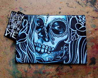 Cosmetic Bag Case | Bella More by Carissa Rose | Day of the Dead Sugar Skull Girl | Rockabilly Psychobilly Goth Accessory