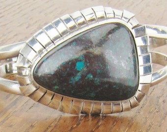 Vintage Mexican Sterling Silver Cuff bracelet Chrysocolla jewelry fringe Hecho en Mexico