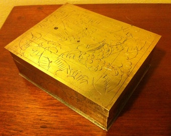 Brass Box Etched Design - Hinged Lid - Wood Lined, Beautiful Chinese Box