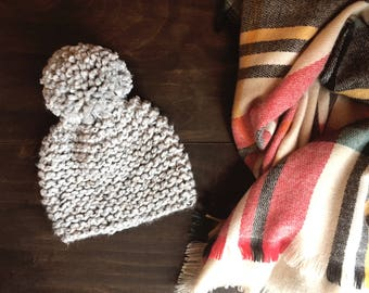 Simple Knit Pom Hat