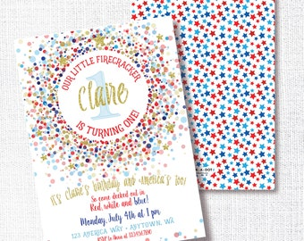 Firecracker Red White And Blue Birthday Party Invitation, Printable, Patriotic Invite, 1st Birthday, First, 4th of July, Star, Confetti