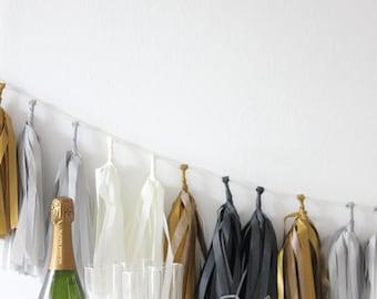 Tissue Tassel Garland Kit - Tuxedo : Black, Metallic Gold, White, Gray - New Year's Eve, Party Garland, Fringe Banner, Tassel Bunting, NYE