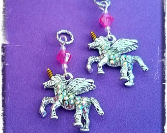 Hearing Aid Charms:  Magical Jeweled Winged Unicorns with Glass Accent Beads!