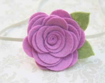 Pink Violet Flower Headband, Baby flower headband, newborn baby flower headband infant toddler teen adult, newborn Photo Prop