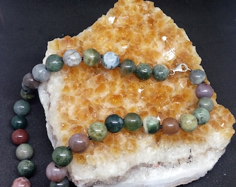 Agate natural gemstone jewelry, Indian necklace, 925 clasp