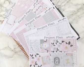 Girls Night In Weekly Planner Sticker Kit 145+ Stickers For Erin Condren Life Planner (Sticker Kit, Planner, Full Kit, Marble, Pink, Laptop)