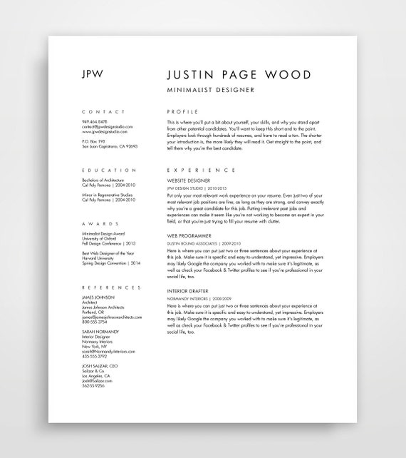 Resume And Cover Letter, CV Template, Curriculum Vitae, Downloadable Resume,  Simple Resume Template, Minimalist Resume, Editable Download