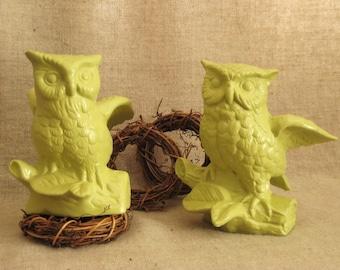 Ceramic Owl Figurines in New Avocado Hooty HOO OWL Collector PAINTED Vintage Owl Figures