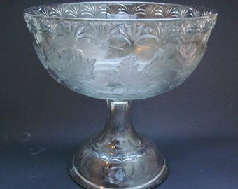 c1890 EAPG Maple Wreath Maple Leaf Glass Compote Comport