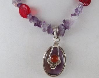 Amethyst Carnelian Czech Glass Bead Necklace