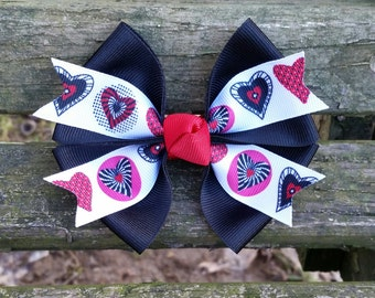 Valentines Day Hair Bow (black, red, white, pink, hearts) 4 inch