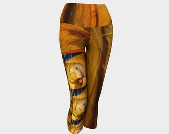 "CAT lovers look out capris ! Fun Leggings ,Tights ,Yoga Capris from PastelArt ""Mufasa"", unique gift"