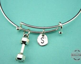 Dumbbell Bangle, Dumbbell Bracelet, Charm Bracelet, Athlete, Initial Charm, Silver Plated Bangle, Bangle, Bracelet, Gift, Dumbell Charm