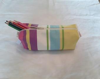 Purple blue yellow bright striped pencil case