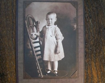 Vintage Photograph Toddler On a Victorian Chair 1910s 6.25 x 4.5