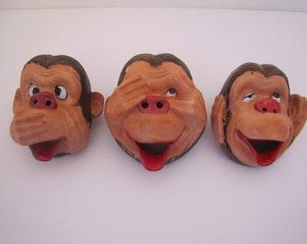 Set of 3 Wise Monkey Ashtrays (No Evil)