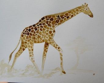 Giraffe, giraffe painting, giraffe gift, coffee painting, original art