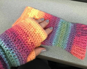 Multi-colored wristers, fingerless gloves for larger hands.