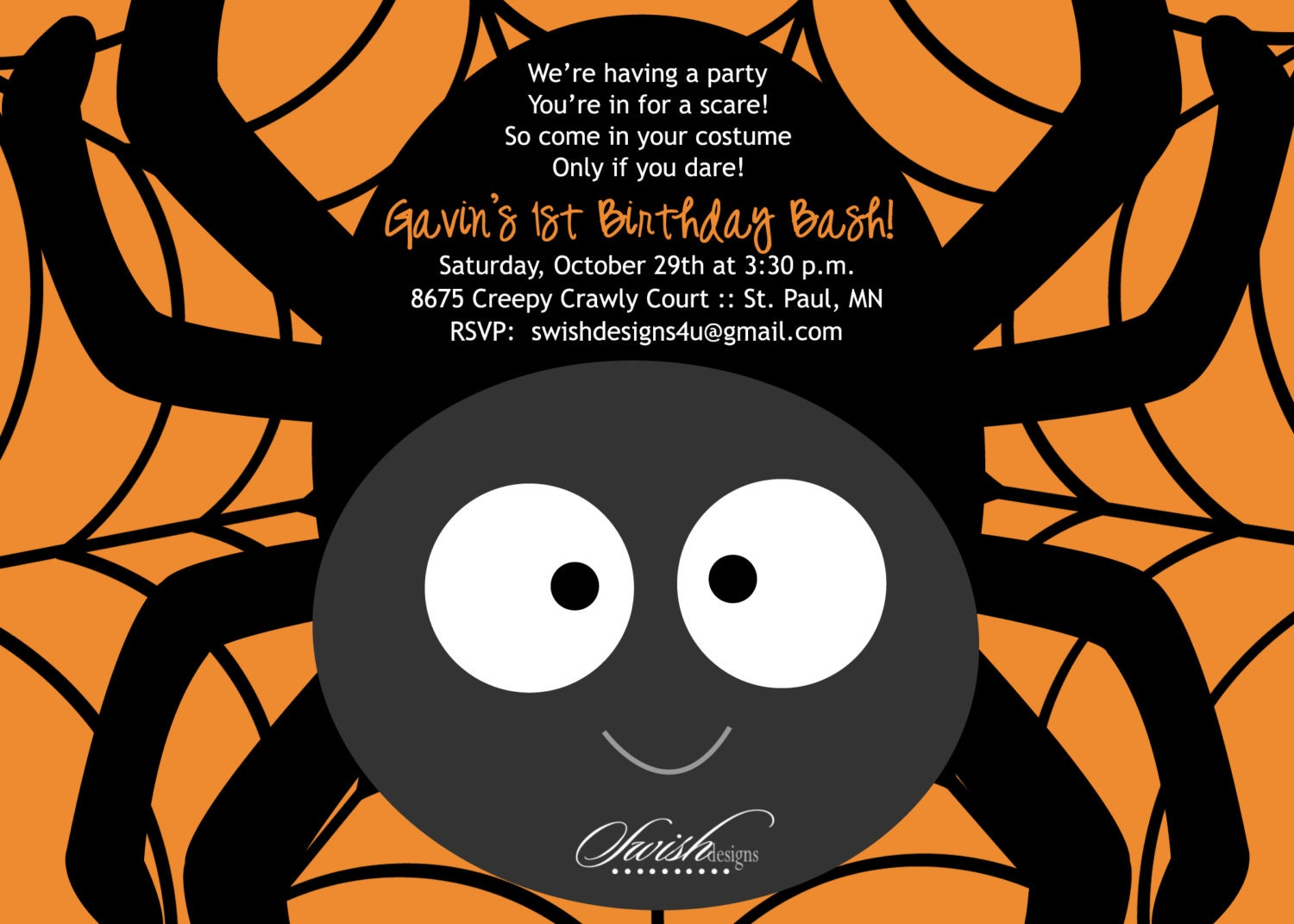 SALE: Halloween Birthday Party Invitation Cute Spider First
