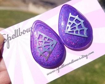 Purple spider web teardrop earrings Vintage Style Rockabilly Pin Up Mid Century Modern glitter