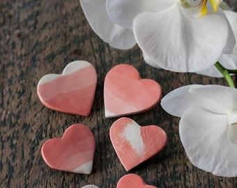 Ceramics heart brooch - Porcelain heart brooch - Gradient effect - Marble brooch - Minimalist brooch - Gift for friend - Heart jewellery